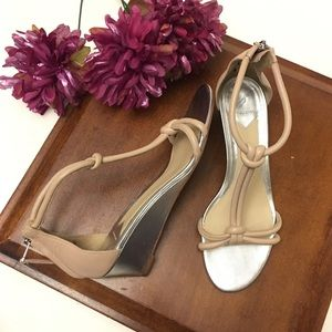 B Brian Atwood nude sandals with silver wedge